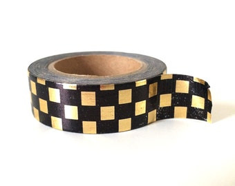 Gold and black checkerboard washi tape