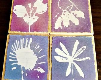 """Heros Arts """"Pastel Petals"""" Stamp Set - Set of 4 - Drooping Petals - Meadow Petals - Daisy Petals - Star Flower Petals - 2 x 2 x .75 Inches"""