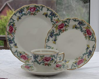 Royal Doulton, Floradora, Teacup and Saucer, Side Plate and Salad Plate, Floradora Quad, Vintage Teacup and Saucer,