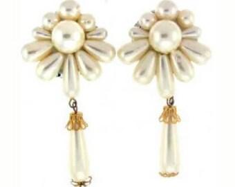 Stunning 3 1/2 Inch Pearl Flower Burst Earrings  Bride Bridal CLIP ON