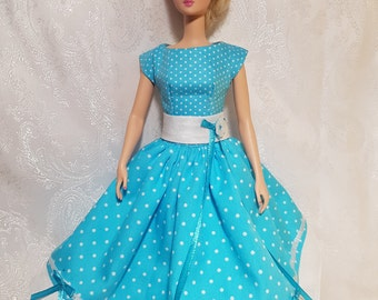 Sea blue day dress for Silkstone and other fashion dolls