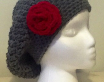 Woman's Slouchy Beret With Rose Appliqué, Slouchy Beret, Beret With Rose, Beret Hat, Crochet Beret