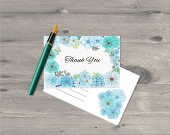 Set of  Watercolour Flowers thank you cards and envelopes set, Thank You cards wedding, Thank You cards bulk, Bridal shower, Baby Shower