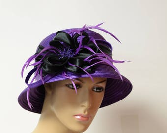 purple/black lady hat, dressy hat, church hat, wedding hat