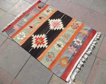 "VINTAGE Old Turkish Anatolian Small Size Wool Kilim Rug Rugs 35,8"" X 49,2"""