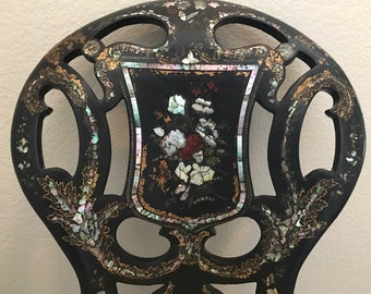 Victorian Papier Mâché Chair with Inlaid Mother of Pearl