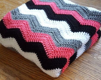 Crochet Chevron Afghan/Chevron Blanket/ Chevron Throw/Modern