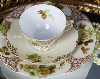 Antique Silesia Old Ivory XVI (Trio) Tea cup with Saucer and Bread Plate Embossed Design