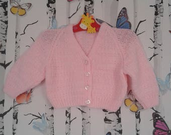 Girls Pink Cardigan, Baby Girl, 3 - 6 Months, Knitted Cardigan, Pink Cardigan, Handmade, Hand Knitted