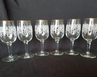 FLORAL ETCHED STEMWARE Dessert Wine Glasses Gold Rimmed Elegant Tableware Crystal Wedding Vintage Retro