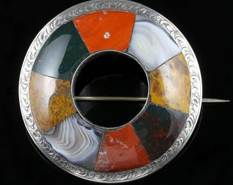 Antique Scottish Agate Brooch Circa 1860