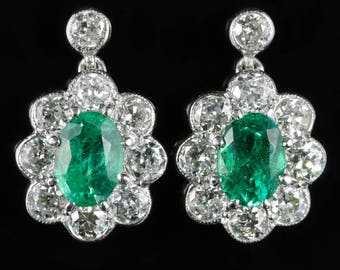 Emerald and Old Cut Diamond Earrings 18ct White Gold 2ct Emerald