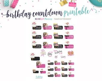 Birthday Countdown Printable // Printable Planner Stickers // Cut Line Files // Planner Printable
