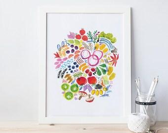 Bright Fruits and Veggies Print