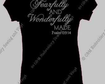 Fearfullu and Wonderfully Made Rhinestone Heel Ladies T-Shirt, Personalized T-Shirt, Women's T-shirt, Ladies Tee