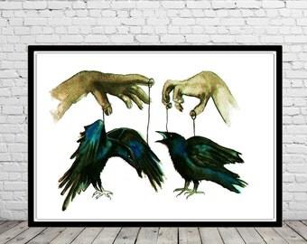 Raven, watercolor raven, raven print, room decor,  watercolor painting, watercolor print  (1985b)