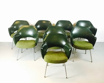 SOLD Set of 8 Mid Century Modern Saarinen Executive Dining Chairs for Knoll Green Excellent Condition SOLD