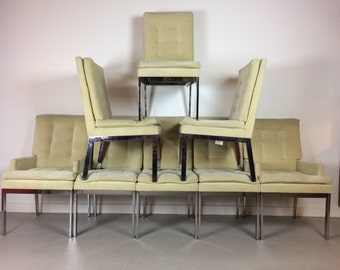 SOLD Set of 8 Milo Baughman for DIA Shiny Chrome and Velvet Dining Chairs