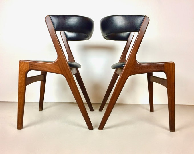 SOLD Pair of 1950's Kai Kristiansen Sculpted Walnut Dining Chairs