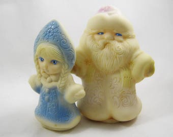 Rubber toys Santa Claus and the Snow Maiden,vintage, antiques of the USSR
