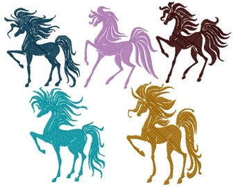 Machine embroidery design, horses silhouette