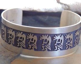 Vintage Native American ~ Wide Sterling Silver Kokopelli Overlay Cuff Bracelet - 47 Grams