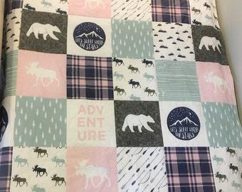 Woodland- Camper Patchwork Quilt - Baby or Toddler Quilt - modern baby quilt - modern nursery