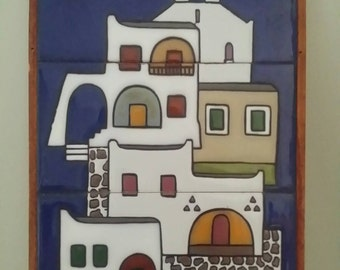 Vintage/Retro/Tiled/Mediterranean/Themed Church/Houses/Wallhanging/Picture