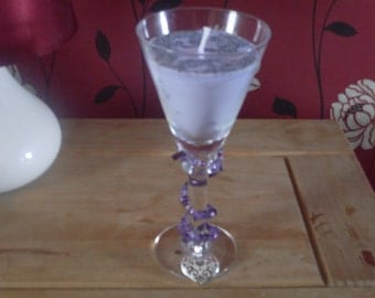 lavender wine glass candle