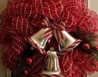 Red & white Deco Mesh Christmas wreath