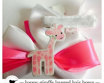 Pretty giraffe layered hair bow