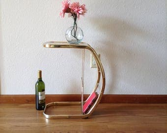 Vintage Brass and Glass Magazine Stand, Plant Stand, Night Stand, Powder Room, Wine Table
