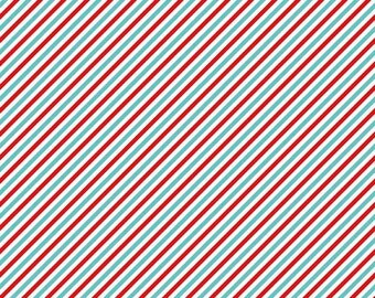 SALE Pixie Noel Stripe Red by Riley Blake Designs - Aqua White Christmas Holiday - Quilting Cotton Fabric - by the yard or fat quarter