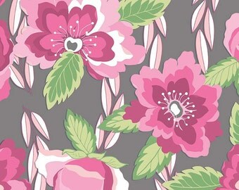 Blossoms Gray by Riley Blake Designs - Pink Floral Flowers - Jersey KNIT cotton lycra stretch fabric - by the yard fat half quarter