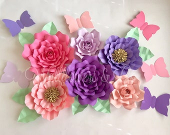 Giant paper flowers - set of 6 paper flowers - butterflies - nursery decor - birthday party decorations - bridal shower