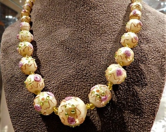 Venetian Necklace Wedding Cake Beads Murano Lampwork Fiorato Antique Pink Roses Art Glass Hand Rolled Knotted Beaded Necklace Italian Italy