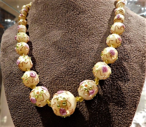 Venetian Necklace  / Wedding Cake Beads / Murano / Lampwork / Fiorato