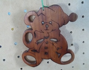 Teddy Bear Ornament in Maple