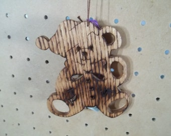 Teddy Bear Ornament Handmade in Oak