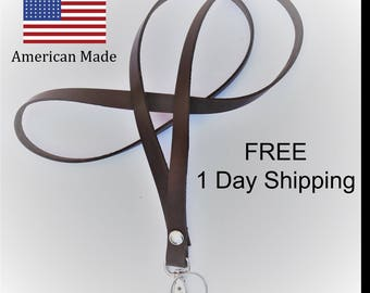 Free 1 Day Shipping on Leather Lanyards
