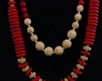Howlite and Red Coral Beaded Necklace