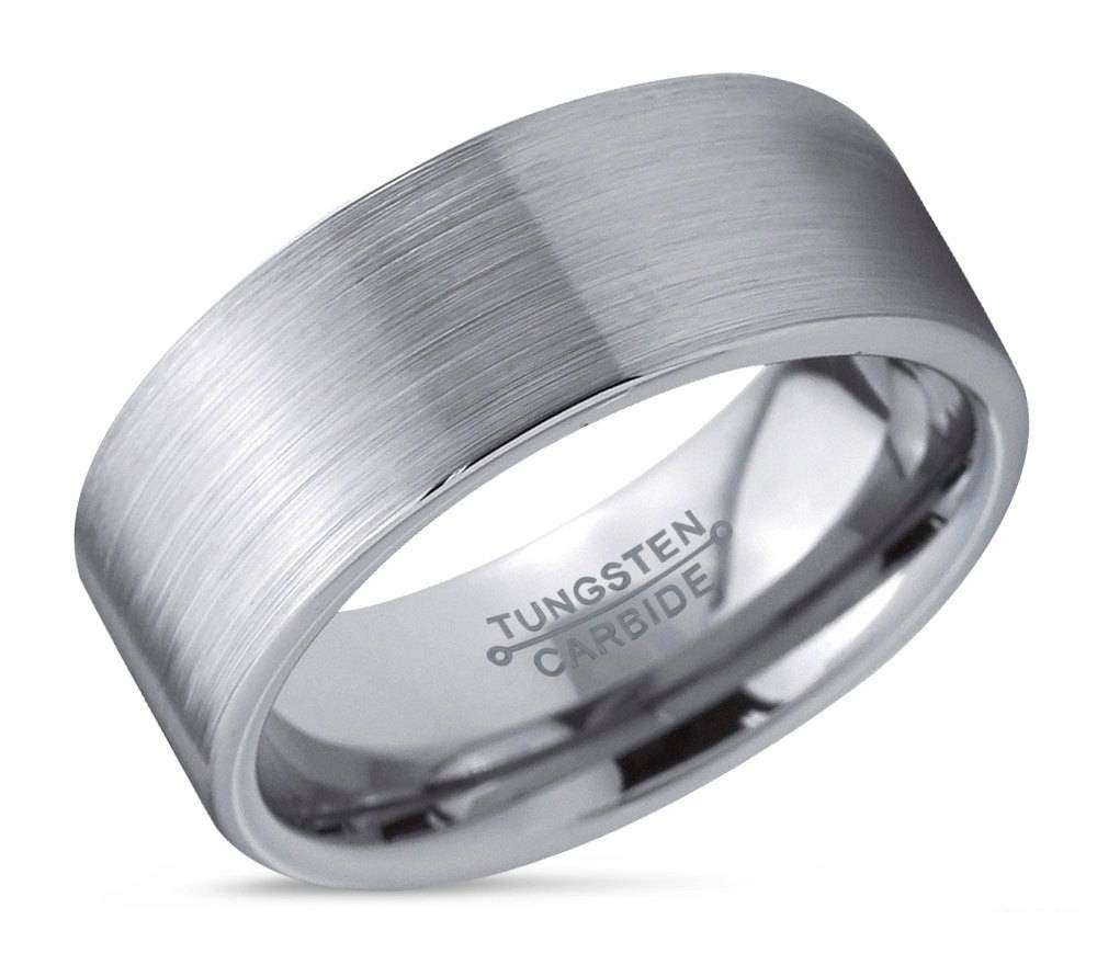 Mens Wedding Band Brushed Tungsten Carbide Unique Ring Man 8mm