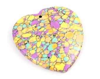 Yellow Rainbow Stone Pendant. Yellow Heart Pendant. Purple Heart. Yellow Stone. Purple Stone. Yellow Pendant. Purple Pendant 41mm x 46mm