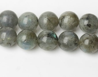 B475 A Natural Labradorite Beads, Full Strand Round 6 8 10 12mm Gray Flashing Stone Beads for Necklace Bracelet Jewelry Making