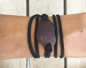 Brown Sea Glass and Black Leather Bracelet Wrap