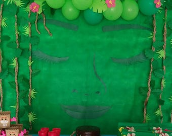 "DIY Moana ""Returns the heart of Te Fiti"" Backdrop Birthday Party Decoration"