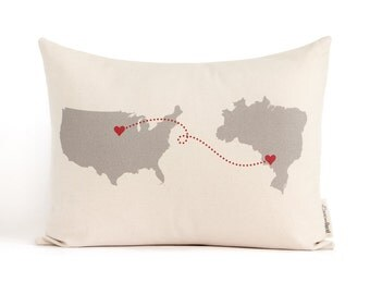 Personalized Map Pillow, Country To Country, Long Distance Relationship, Personalized Pillows, Anniversary Gift, Gift for Him, Throw Pillow