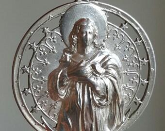 Vintage Spanish Blessed Mother Mary Medal Blessed Virgin Mary Catholic Medal Catholic Gift Communion Gift Art Deco Catholic Jewelry