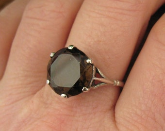 Sterling Silver Smokey Quartz Set Ring