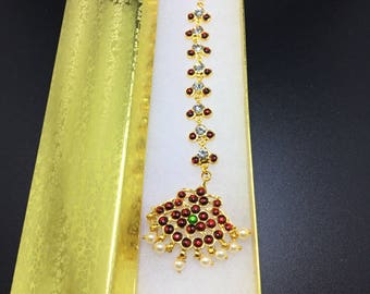 Head chain,hair women,fashion jewelry ,rhinestone metal piece,gold new crystal headpiece ,bohemian,Gold plated MaangTikka,MangTikka,crescent